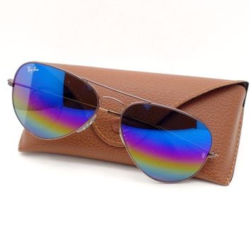 Ray Ban Aviator 3025 9019/C2 62 Dark Bronze Rainbow Mirror Authentic Sunglasses