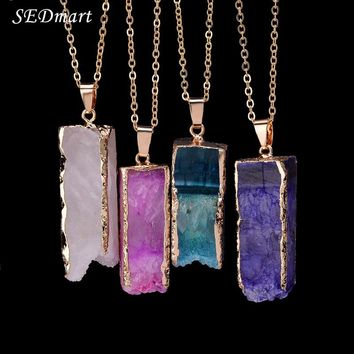 *Online Exclusive* Irregular Rectangle Natural Stone Necklace (Multiple)