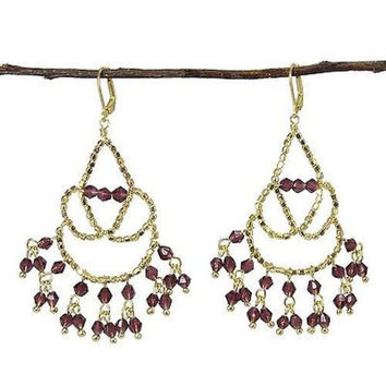 Maharaja Chandelier Earrings in Plum - WorldFinds