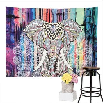 ESBU3C Elephant Tapestry Colored Printed Decorative Mandala Tapestry Indian Boho Wall Carpet 150*130cm JD176