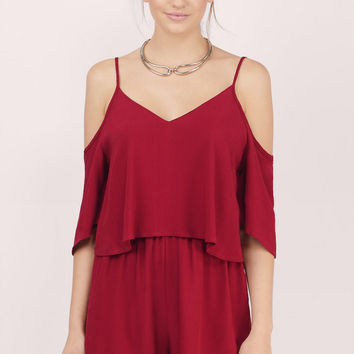 All The Tiers Cold Shoulder Romper