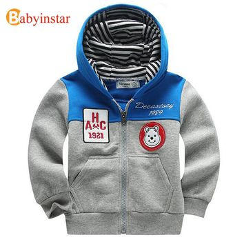 Babyinstar 2017 New Children Casual Coat Fashion Patchwork Outerwear Kid's Clothing Baby Costume Boy's Hoodies Coat