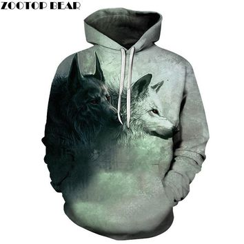 Wolf Printed Hoodies 3D Brand Men Sweatshirts Male Hooded Tracksuits Pocket Jackets