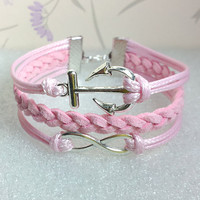Infinity Bracelet-Love Bracelet, Pink Wax Cords and Pink braid bracelet.