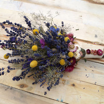 Wedding dried flowers, lavender bouquet, wild flowers bouquet, wedding bouquet, dried lavender, dried billy buttons bunch, strawflower