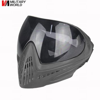 Paintball Safety Face With Goggle (Black Lens) Anti-fog Hunting Military Full Face Mask Tactical Hunting Glasses Gear