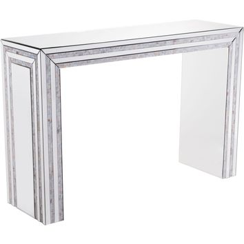 Beige Mirrored Mop Console Table