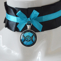 Gothic witch choker - Moon ritus - pleated collar necklace - dark victorian lolita goth fantasy wicca wiccan costume collar - black and blue