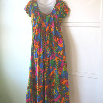 Peter Max Influenced Psychedelic Floral Maxi Dress - Vintage '60s Neon Flower Maxi; Cool Cotton or Rayon; Small-Medium - Tiki Party Dress