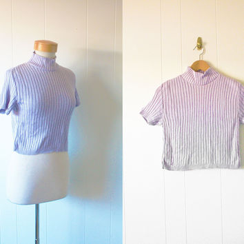 VINTAGE Cropped Sweater 1990s Cotton Blend Turtle Neck