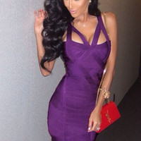 Pure Charm Purple Strap Sexy and Club Bandage Dress