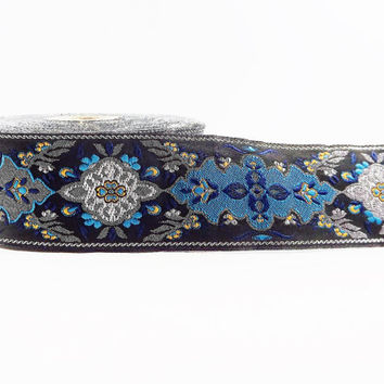 Blue Yellow Silver Turkish Carpet Motif Woven Embroidered Jacquard Trim Ribbon - 40mm - 1 Meter or 3.3 Feet or 1.09 Yards