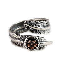 Moon Wings Solid Sterling Silver Feather and Flower Vintage Womens Ring Adjustable Ring