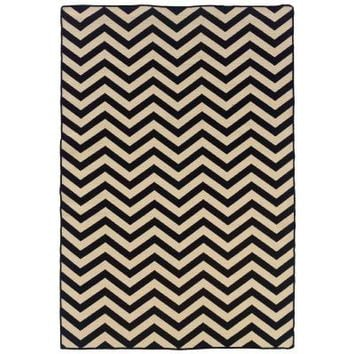 Linon Home Decor Saloniki Chevron Black 5 ft. x 8 ft. Area Rug-RUG-SA0158 at The Home Depot