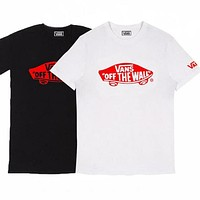 VANS Print Cute Black White T-Shirt For Women Men