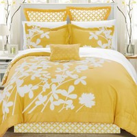 Queen Size Yellow 7 Piece Floral Bed In A Bag Comforter Set