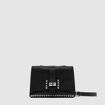 STUDDED LEATHER CROSSBODY BAG DETAILS