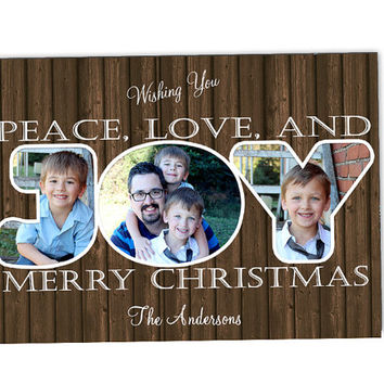 Wood Family Christmas Card Set - Photo Christmas Cards - Peace Love Joy Chalk Style Holiday Cards - Photo Holiday Card - Rustic Country