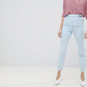 ASOS DESIGN Farleigh High Waist Slim Mom Jeans In Philomena Light Stone Wash With Savannah Styling And Side Tab Detail at asos.com