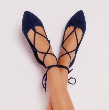 HOT BLACK CROSS BANDAGE LACE UP SHOES