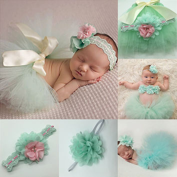 Newborn Photography Props Infant Costume Outfit Cute Princess Skirt Handmade Crochet Beaded Cap Headband Baby Girl Dress