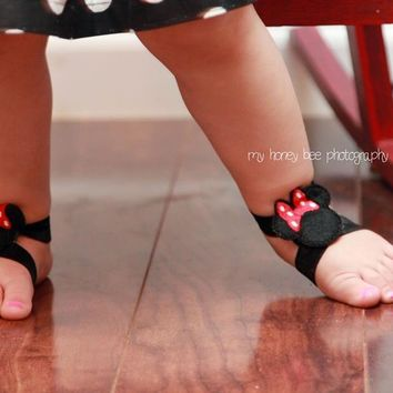 Minnie Mouse Barefoot Sandals, Baby Girls, Toddlers, Barefoot Sandals, Girls  Accessories