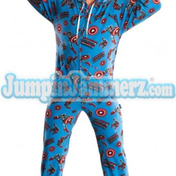 Captain America Footed Pajamas - Super Hero - Marvel Comics - Pajamas Footie PJs One Piece Adult Pajamas - JumpinJammerz.com