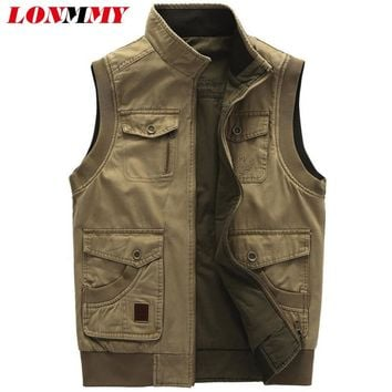 LONMMY 5XL Military vests male with many pockets Cotton Sleeveless jacket Vests for men Double-sided wear vest men Army green