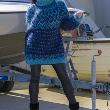 Iceland Mohair Sweater, Icelandic Hand Knitted Jumper T553