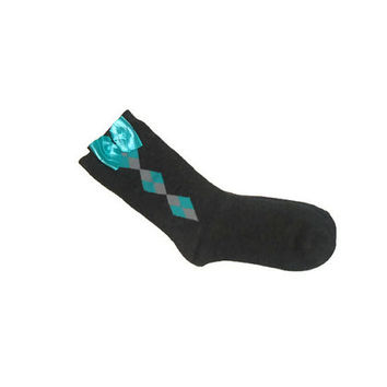 One Size Ankle Boot Bow Socks in Gray with Teal Gray Diamond Pattern