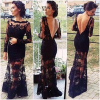 Sexy sheer Neckline Black prom dress with deep V back/lace prom dress/see through legs wedding dress/party dress wit long lace sleeves