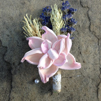 Handmade Wedding Corsage- Pale Pink Sola Pea Rose Flower Corsage, French Lavender Corsage, Hooked Barley Wheat, Twine, Lace, Rustic