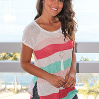 Pink and Mint Wavy Striped Top