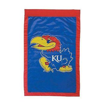 Kansas KU Jayhawks 28x44 Double (2) Sided Applique Banner Flag FREE US SHIPPING