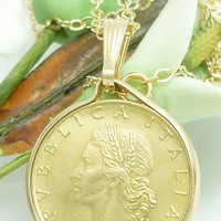 Vintage Italian 20 Lire 1986 Coin Pendant 14 kt Gold Filled