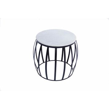 Sophisticated Iron Base Side Table With Marble Top, White