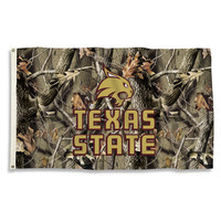 Texas State Bobcats 3 Ft. X 5 Ft. Flag W/Grommets - Realtree Camo Background