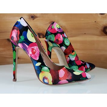 "Red Cherry Black Multi Floral Fruit Pointy Toe Pump Shoe 4.5"" High Heels"