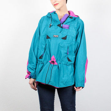 Vintage 80s 90s Windbreaker Jacket New Wave JANSPORT Hooded Jacket Teal Blue Pink Anorak Jacket Sporty Athletic Hiking Jacket M L Large XL