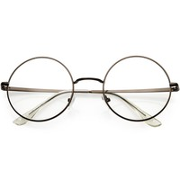 Vintage Classic Metal Round Clear Lens Glasses 50mm C854
