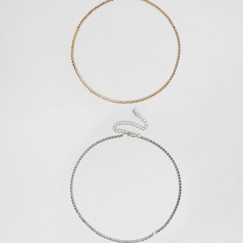 ASOS CURVE Pack of 2 Chain Choker Necklaces at asos.com