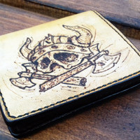Leather wallet, Skull Viking with axes, Pyrography, Hand Made, Credit card wallet, hand-tooled wallet, Brieftasche, Gift for men, woman