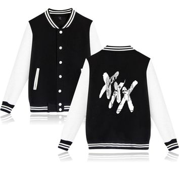 Xxxtentacion Hoodies Jacket Hip Hop Collage Style Long Sleeve Baseball Jackets Men  streetwear Bomber Sweatshirts Xxxtentacion
