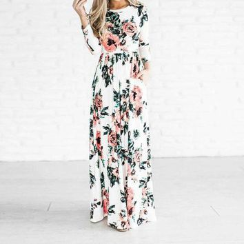 DCCKIHN Preself Rose Floral Printed Long Maxi Dress New Women Crew Neck Fashion 3/4 Sleeve  Plus Size  Boho Beach Dress Vestidos 2017