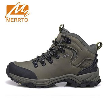2017 MERRTO Winter Men's Warm Hiking Shoes High Quality Trekking Sport Genuine Leather Outdoor Shoes Man Mountain Climbing Boots