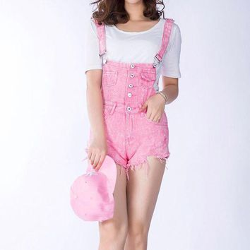ONETOW 2017 New Summer Women Denim Overalls Ladies Pink Vintage Loose Solid Hole Black Overall Jeans Denim Shorts Female Above Knee