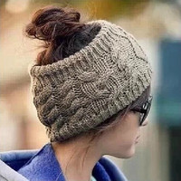 Women Warm Winter Snow Hat Fashion Knit Headband No Top Wool Hat Headband = 1957997380