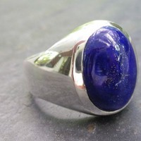 Men's Unique, Custom, Oval Lapis Lazuli Ring in Heavy Sterling Silver