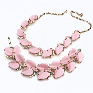 Pink Moonglow Necklace & Bracelet ~ Vintage Thermoset Heart Leaf Moon Glow Link Demi Parure Set