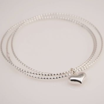 Delicate heart triple bangle